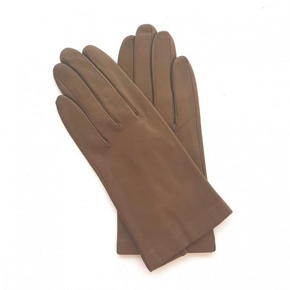 "Leather gloves of lamb sepia ""CAPUCINE"""