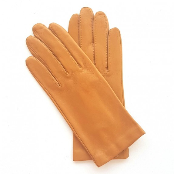 "Leather gloves of lamb camel ""CAPUCINE"""