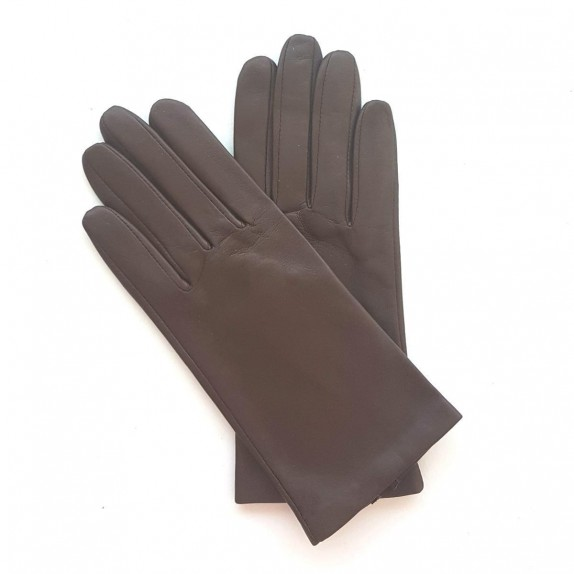 "Leather gloves of lamb dark chocolate ""CAPUCINE"""