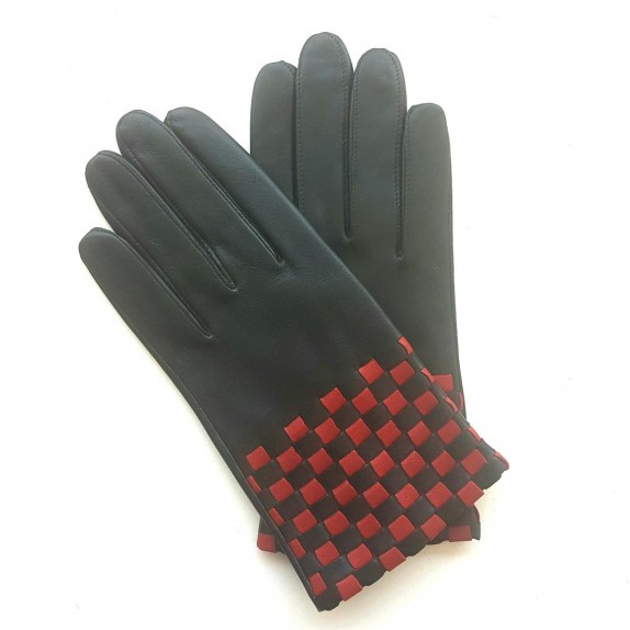 "Leather gloves of lamb black and red ""LEOPOLD""."