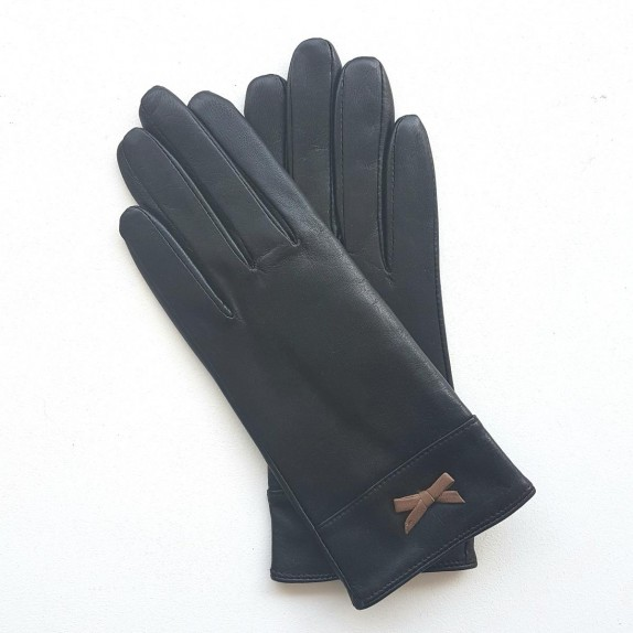 """Leather gloves of lamb black and sand """"ANEMONE"""""""
