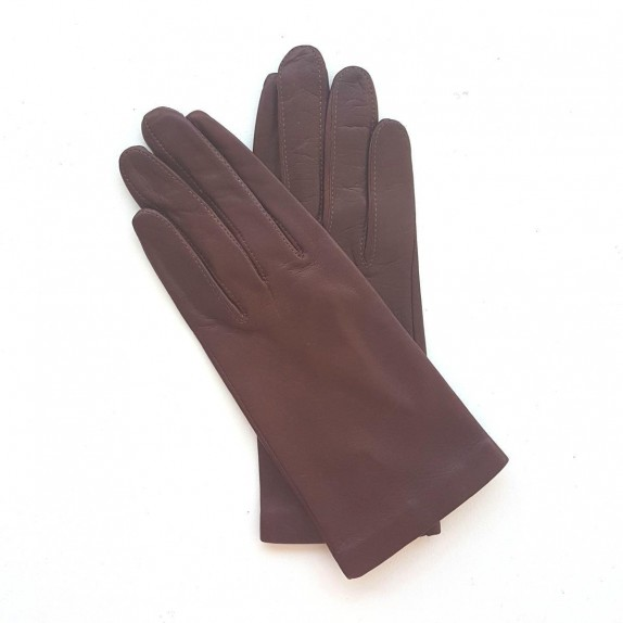 "Leather gloves of lamb chocolate ""CAPUCINE"""