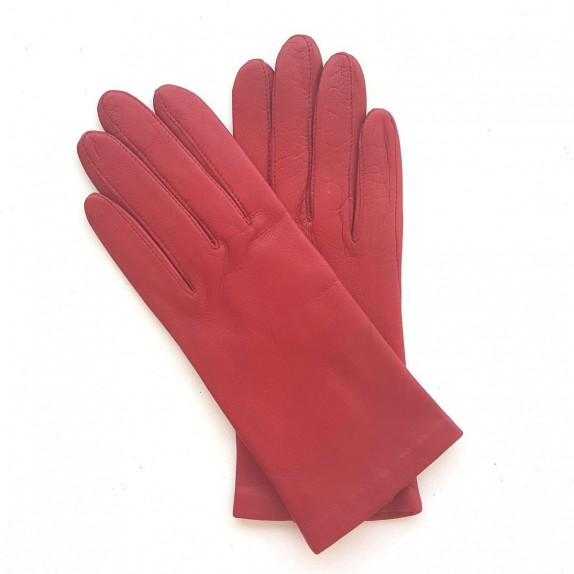 "Leather gloves of lamb strawberry ""CAPUCINE"""