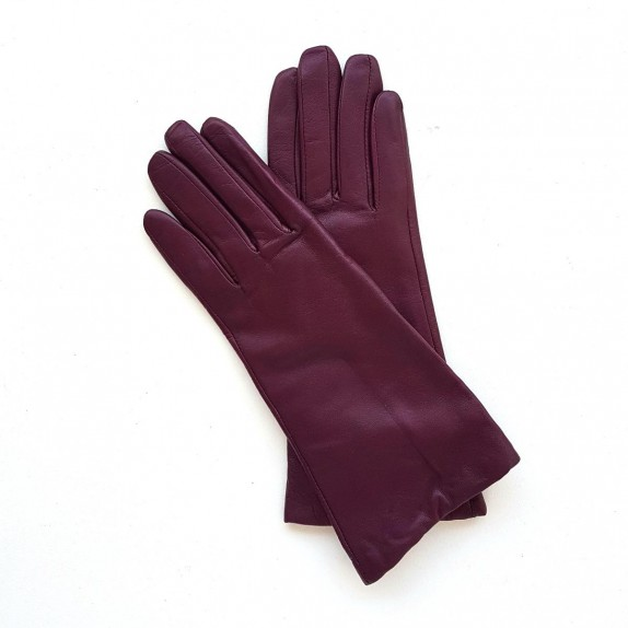 "Leather gloves of lamb cassis lining cashmere ""COLINE"""