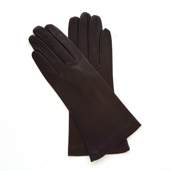 "Leather gloves of lamb dark chocolate lining cashmere ""COLINE"""