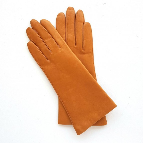 "Leather gloves of lamb camel lining cashmere ""COLINE"""