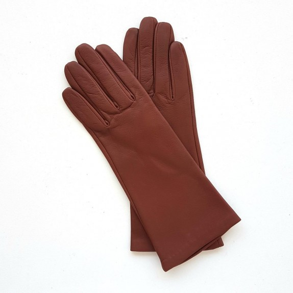 "Leather gloves of lamb cognac ""COLINE""."