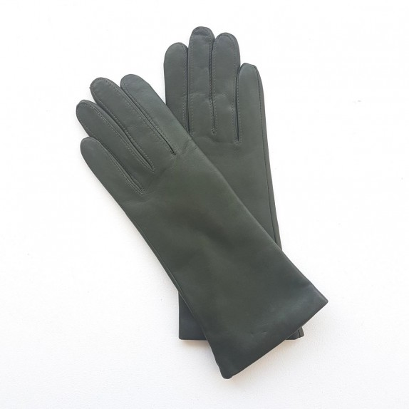 "Leather gloves of lamb khaki lining cashmere ""COLINE"""