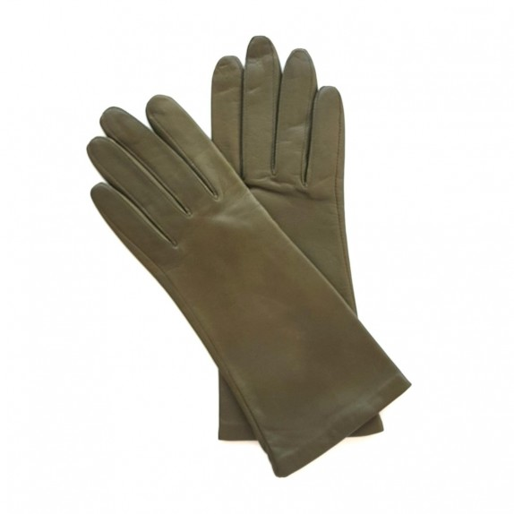 "Leather gloves of lamb olive lining cashmere ""COLINE"""