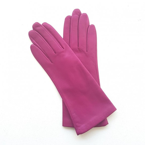 "Leather gloves of lamb hot pink ""COLINE""."