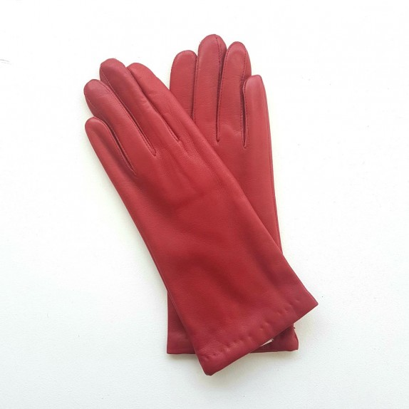 "Leather gloves of lamb red ""COLINE""."