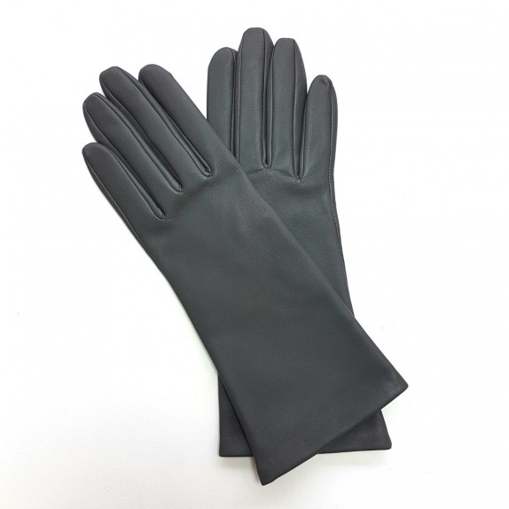 "Leather gloves of lamb grey ""COLINE""."