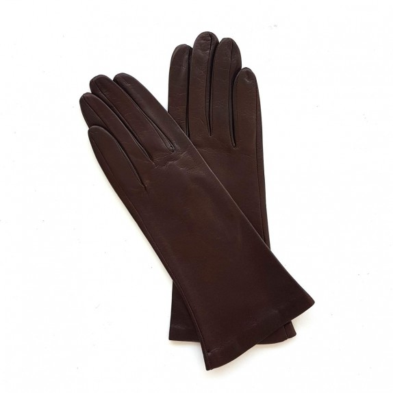 "Leather gloves of lamb chesnut lining cashmere ""COLINE"""