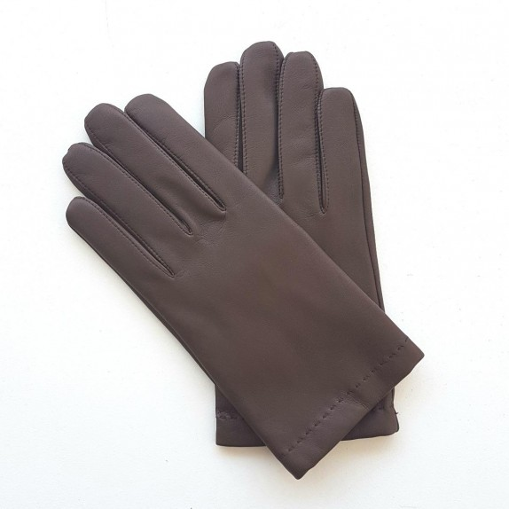 "Leather gloves in lamb brun ""RAPHAËL""."