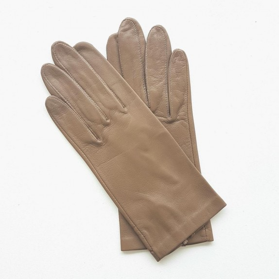 "Leather gloves of lamb taupe ""CAPUCINE""."