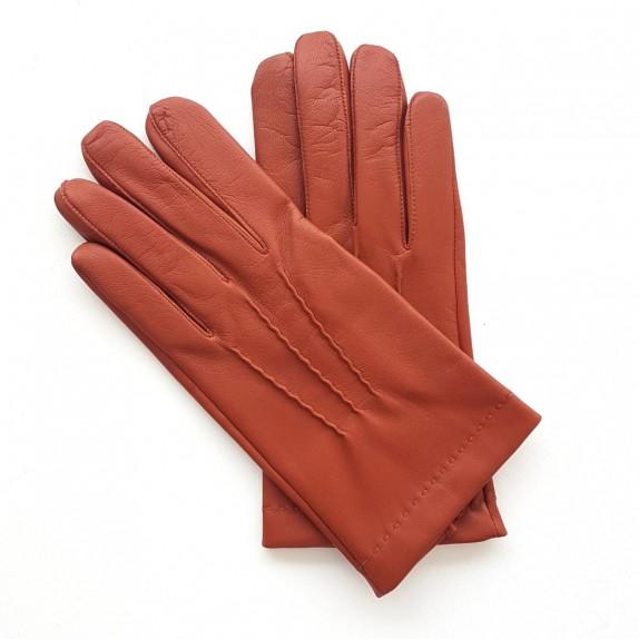 "Leather gloves of lamb new cognac ""HENRI""."