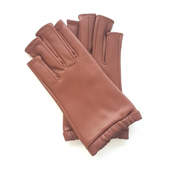 "Leather mittens of lamb cognac ""EVELYNE""."
