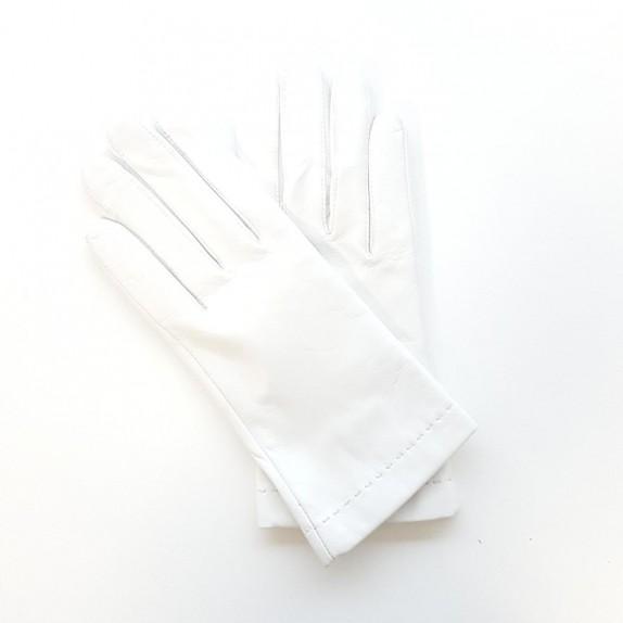 """Gants en cuir d'agneau blanc """"RAPHAËL""""."""