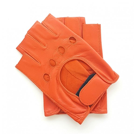 "Leather mittens of lamb orange ""PILOTE""."