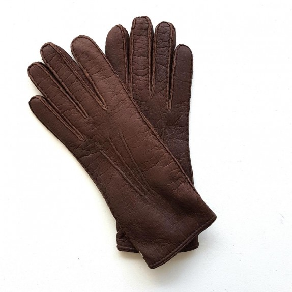 "Leather gloves of pecarry mink ""LEONIE""."