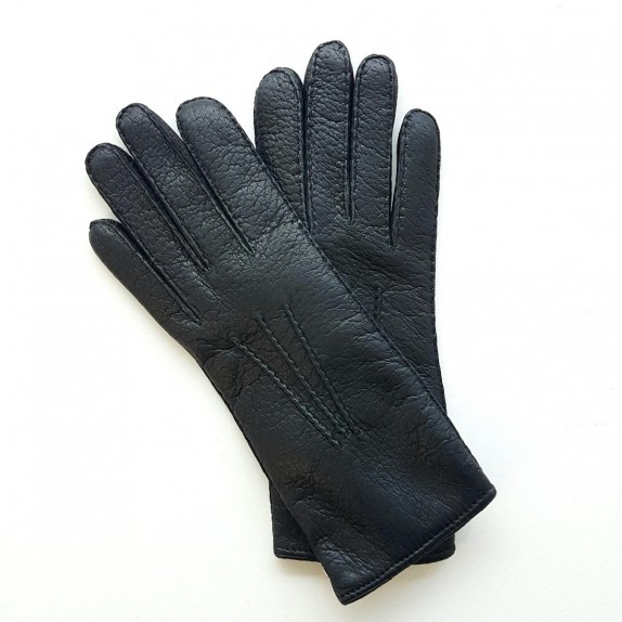 "Leather gloves of pecarry black ""LEONIE""."