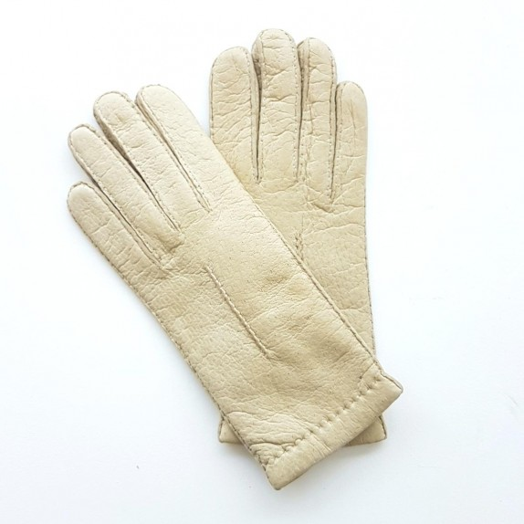"Leather gloves of peccary otmeal ""ANNABELLE"""