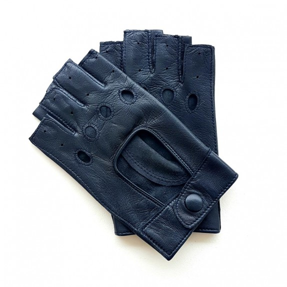 "Leather Mittens of lamb navy ""PILOTE""."