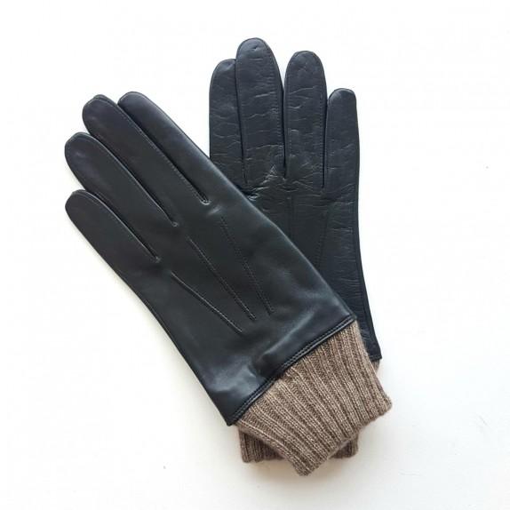 """Gants en cuir d'agneau et laine/acrylique noirs """"ALBERT""""."""