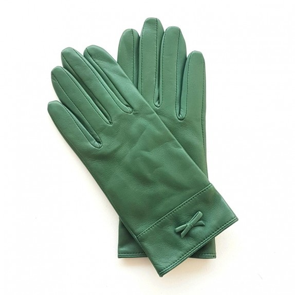 "Leather gloves of lamb green ""ANEMONE"""