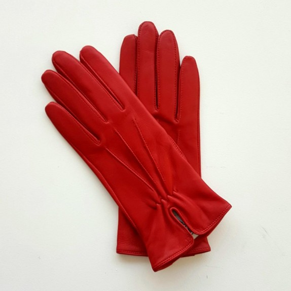 "Leather gloves of lamb red ""JULIE""."