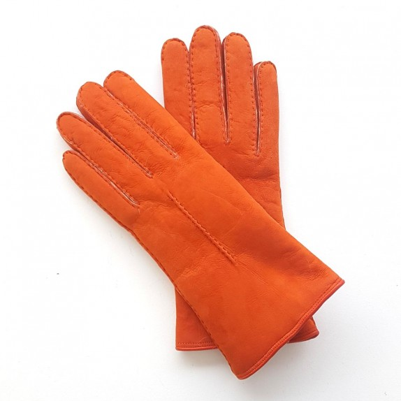 "Leather gloves of sherling orange ""ANASTASIA""."