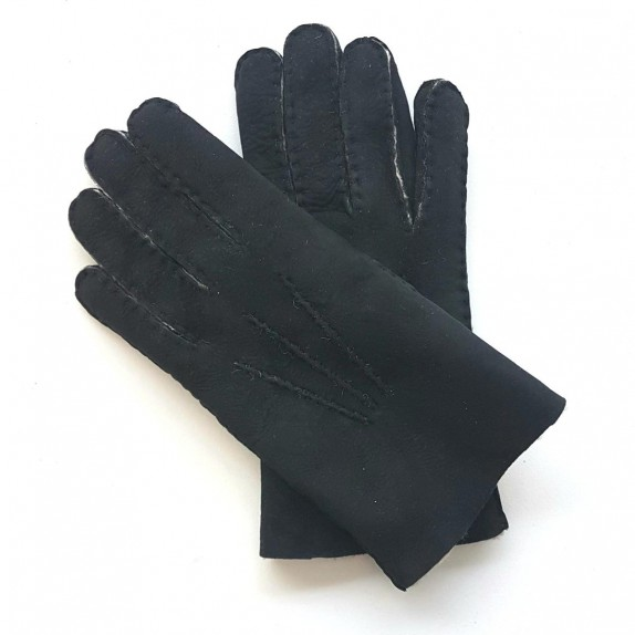 "Leather gloves of shearling black ""JIVAGO""."