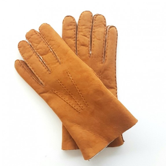 "Leather gloves of shearling chesnut ""BORIS ""."