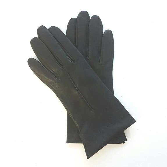 "Leather gloves of lamb black ""THERESE""."
