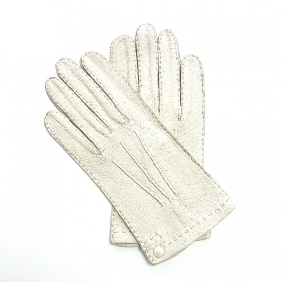 "Leather gloves of peccary white ""PERNILLE"""