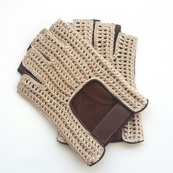 "Leather mittens and cotton hook havana and écru ""PILOTE"""