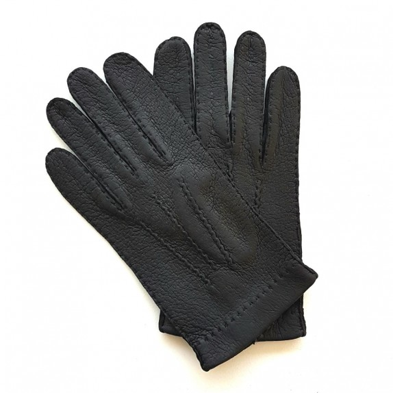 "Leather gloves of peccary black ""PAUL""."