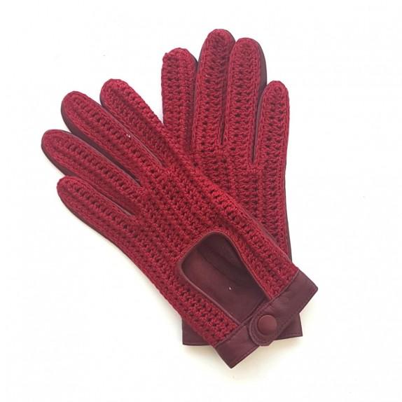 """Gants en cuir d'agneau et crochet coton rouge """"ALFREDINE""""."""