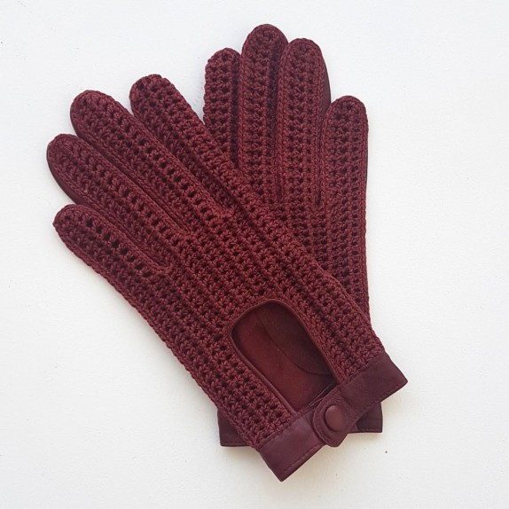 "Leather gloves of lamb, cotton hook burgundy ""ALFREDINE""."
