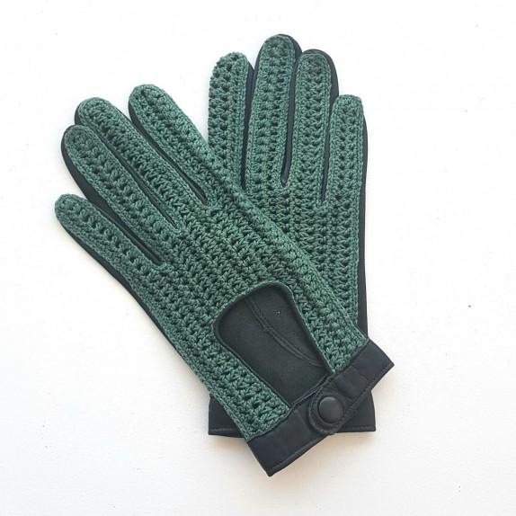 """Gants en cuir d'agneau et crochet coton vert """"ALFREDINE""""."""