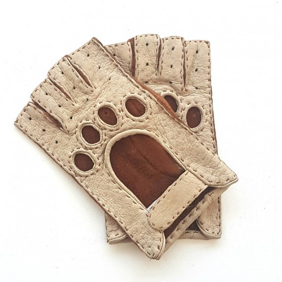"Leather mittens of peccary beige and cork ""MARLENE""."