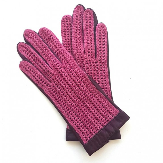 "Leather of lamb and cotton hook gloves pink and purple ""GANTS DE CONDUITE"""
