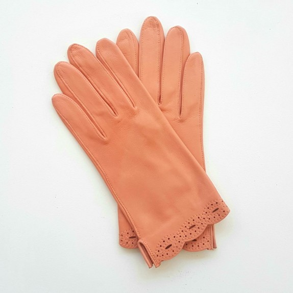 """Leather Gloves of lamb peach """"DENISE""""."""