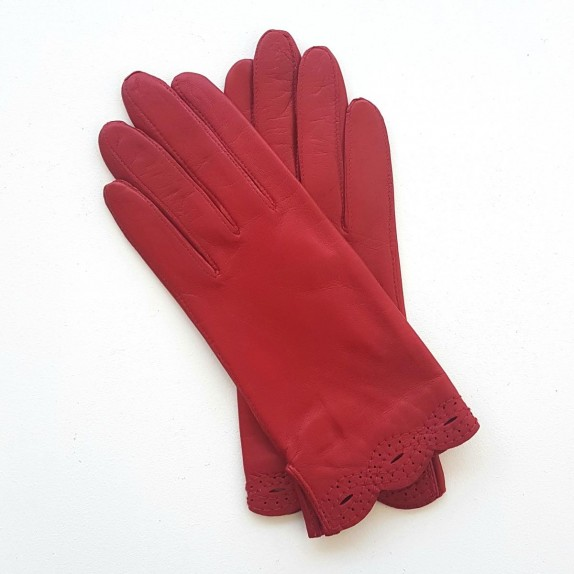 "Leather Gloves of lamb red ""DENISE""."