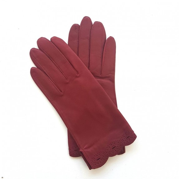 "Leather Gloves of lamb burgundy ""EMILIE""."