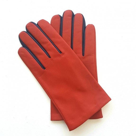 "Leather gloves of lamb orange and damson ""TWIN H"""