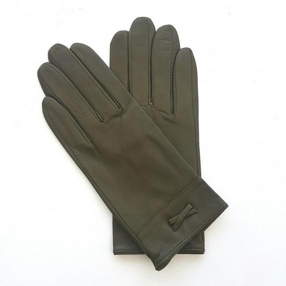 """Leather gloves of lamb khaki """"ANEMONE"""""""