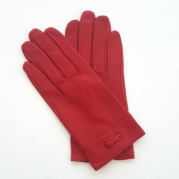 "Leather gloves of lamb red ""ANEMONE"""