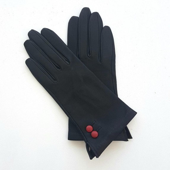 """Leather gloves of lamb black and red """"CLEMENTINE"""""""