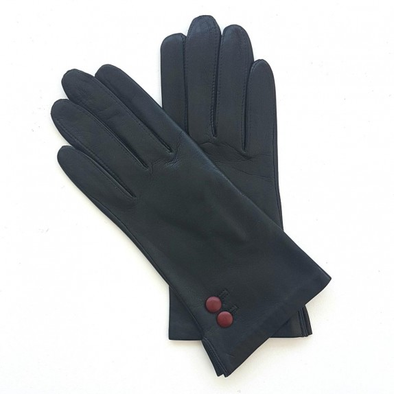 """Leather gloves of lamb black and burgundy """"CLEMENTINE"""""""